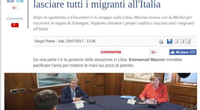 Il Giornubblica ora ce l'ha con Macron e Merkel perché vogliono sbarrare le frontiere.