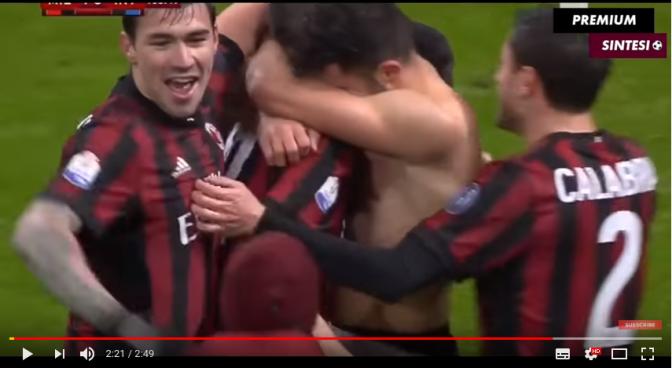 Cutrone sblocca il Milan e si becca il Cartellino giallo per Torso nudo.