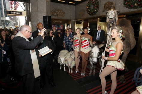 "His Eminence Timothy Cardinal Dolan Blesses the Animals from the Christmas Spectacular's ""Living Nativity"" Scene at Radio City Music Hall"
