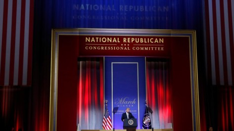 U.S. President Donald Trump delivers remarks at the National Republican Congressional Committee's annual March dinner at the National Building Museum in Washington