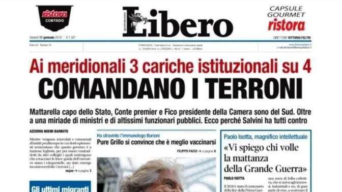 """Libero titola """"Terroni"""" ma il suo Editore è un abruzzese con la terza media eletto nel Lazio con FI (?)"""