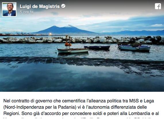 """Autonomie e Dritto Sovranista. DeMagistris provoca: """"Autonomia di Napoli"""" come se fosse uno scherzo."""