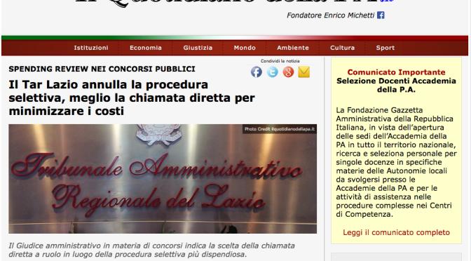 Scandalo TAR Lazio: annulla concorso ed impone chiamata diretta cioè la raccomandazione. E l'ashtag dov'è?