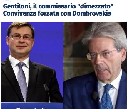 Caro PD, quanto ti caca l'Europa: Gentiloni primo Commissario UE con poteri dimezzati perché il Nord-Euro non lo vuole.