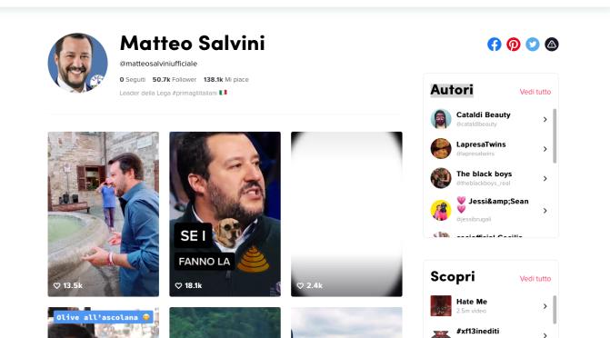 Chinese Democracy: Salvini ha 1 milione di visualizzazioni sul social media cinese…non censurato. Altro che Facebook.