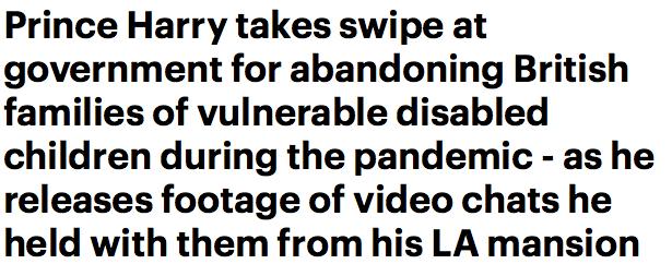 Il principe Harry critica aspramente il governo per non aver fatto abbastanza per i bambini disabili … forse se il governo non avesse dato a lui e Meghan da 5 a 10 ml. per rimanere a Los Angeles avrebbero dato i soldi per i bambini disabili