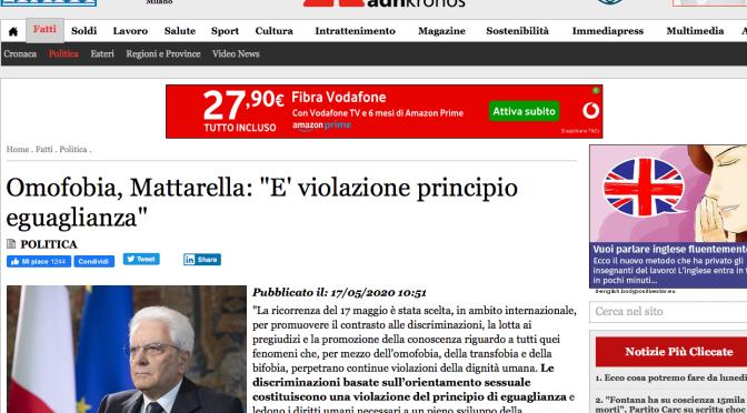 Mattarella si può pulire il sedere col suo comunicato stampa: non è vero che la Costituzione Italiana giustifica i Matrimoni gay.