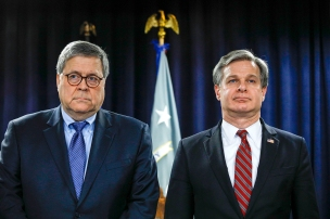 DETROIT, MI - DECEMBER 18: U.S. Attorney General William Barr (left) and FBI Director Christopher Wray (right) stand together at an announcement of a Crime Reduction Initiative designed to reduce crime in Detroit on December 18, 2019 in Detroit, Michigan. (Photo by Bill Pugliano/Getty Images)